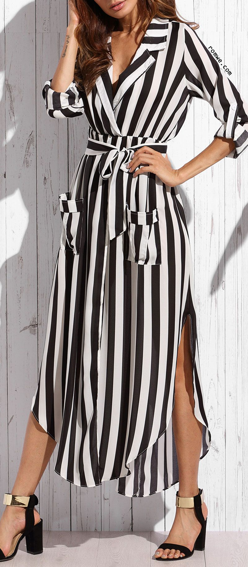 Contrast Vertical Striped Notch Lapel Belted Shirt Dress Belted Shirt Dress Shirt Dress Striped Maxi Dresses [ 1824 x 800 Pixel ]