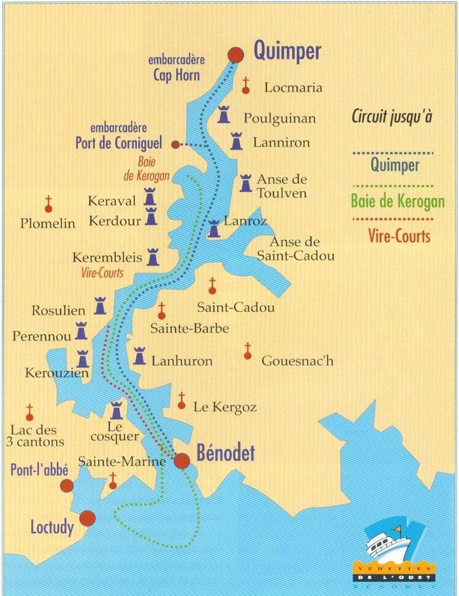 Odet river map carte de la rivire de Quimper dite aussi lOdet