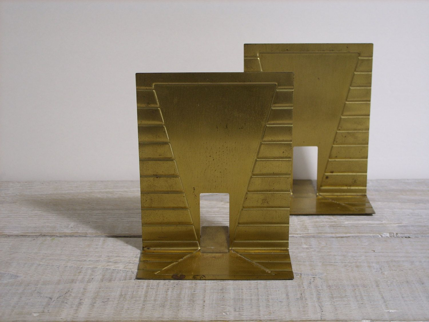 Vintage Art Deco Book Ends ~ Set Of 2 Gold Tone Rustic Metal Library  Bookends ~ Retro Office Decor