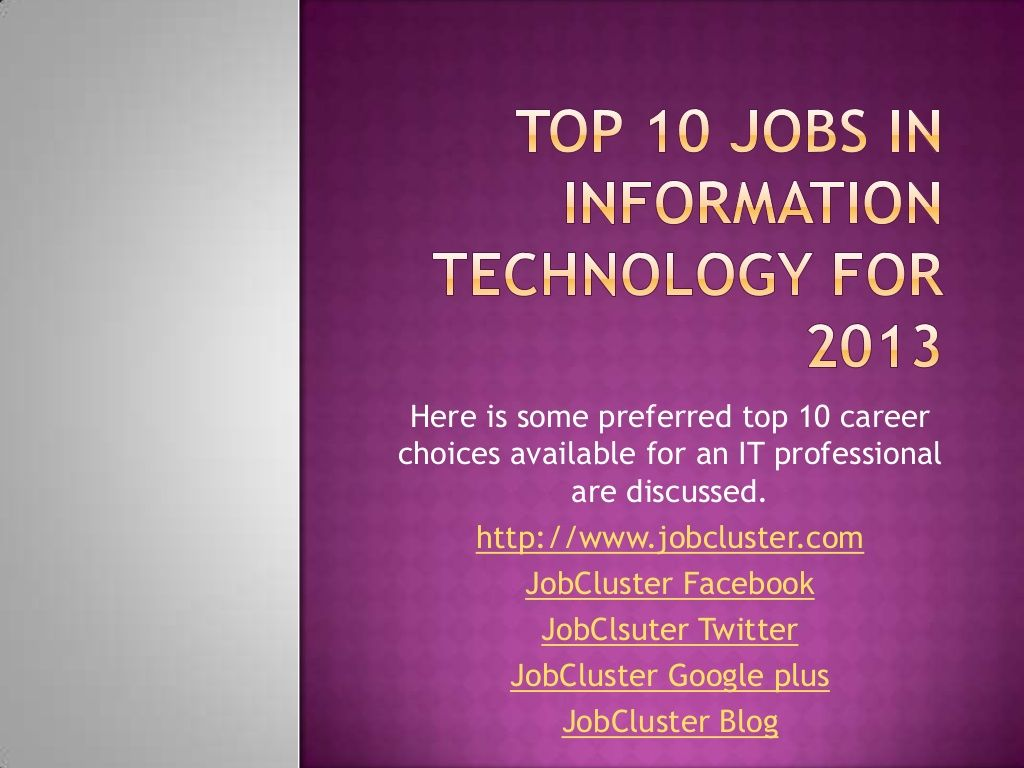 Top 10 Jobs In Information Technology Industry Information Technology Technology Careers Tech Job