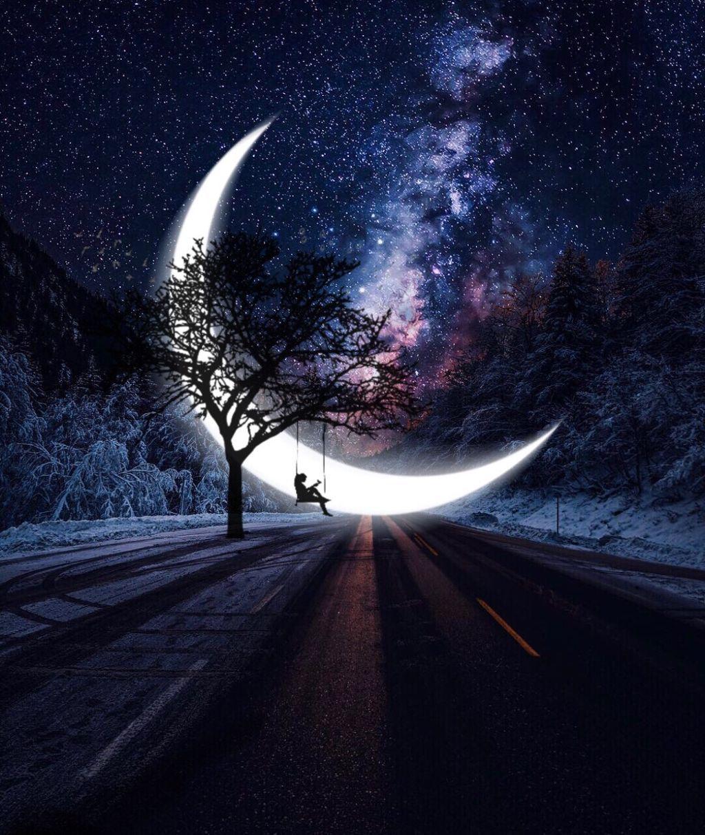 Freetoedit Myedit Edit Edited Surreal Moon Landscape Moonlight Photography Night Sky Wallpaper Galaxy Wallpaper