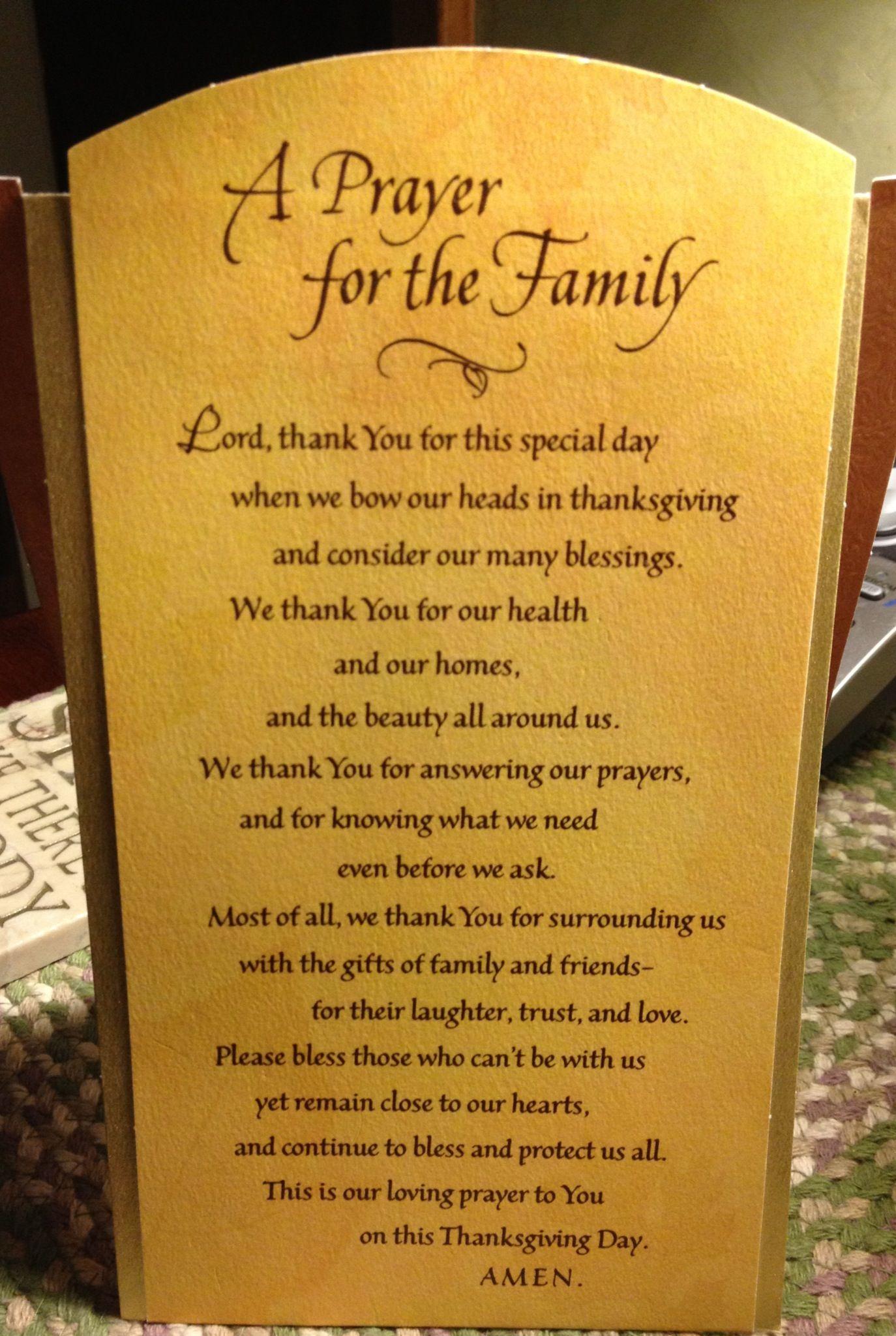 Thanksgiving prayer Signs & Sayings Pinterest