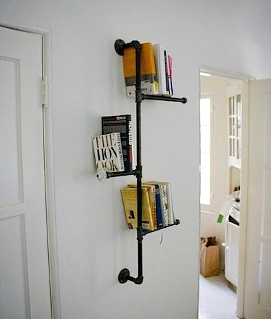 Now I Know How To Make The Exposed Pipes In My Bathroom Bearable - Pipe bookshelves