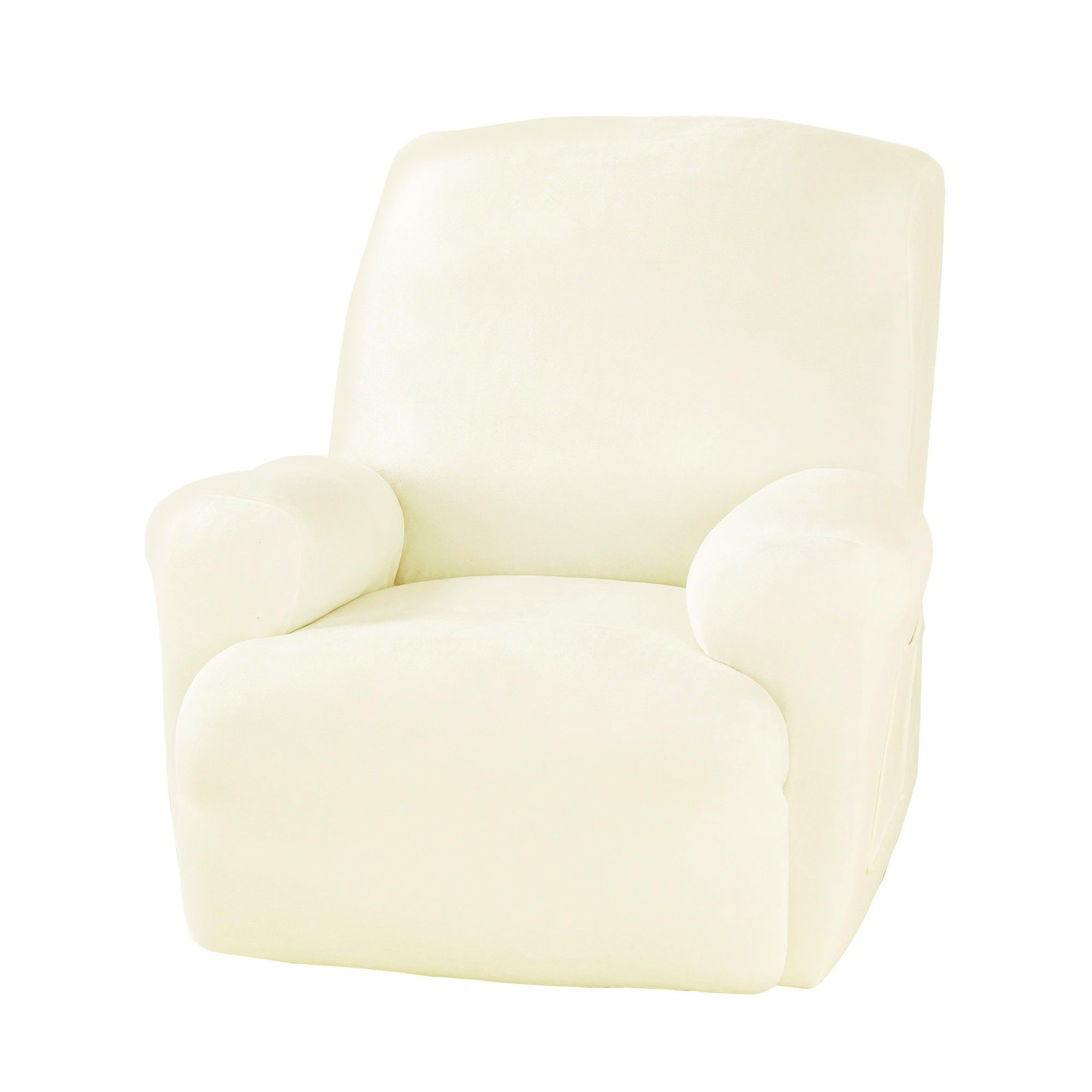 slipcovers fit recliner sure piece chocolate amazon dp stretch home slipcover recliners for com pinstripe kitchen