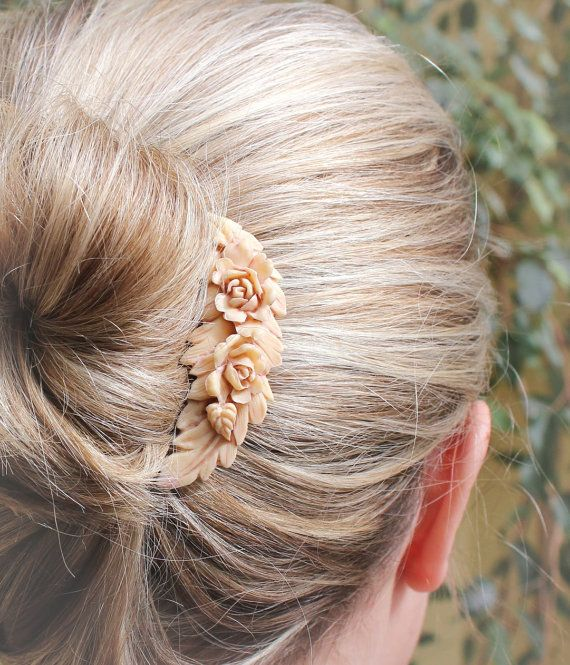 Floral Wedding Comb Rose Hair Ivory Cream Rose by apocketofposies