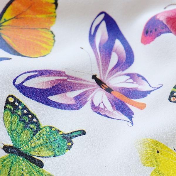 3/4-Sleeve Butterfly-Print Dress - Dabuwawa   YESSTYLE