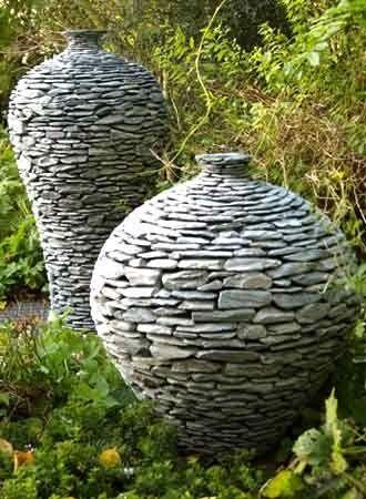 Unique Ceramic Garden Art Slate Stone Pots And Water Features Perfect For Landscape Gardens