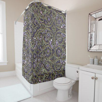 Violet Purple Faux Gold Victorian Swirls Pattern Shower Curtain