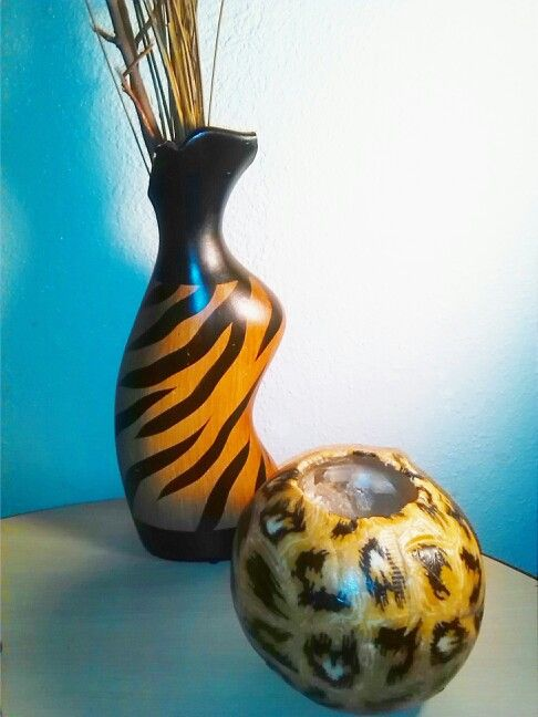 Zebra Print Vase And Leopard Print Round Ball Candle For The Home