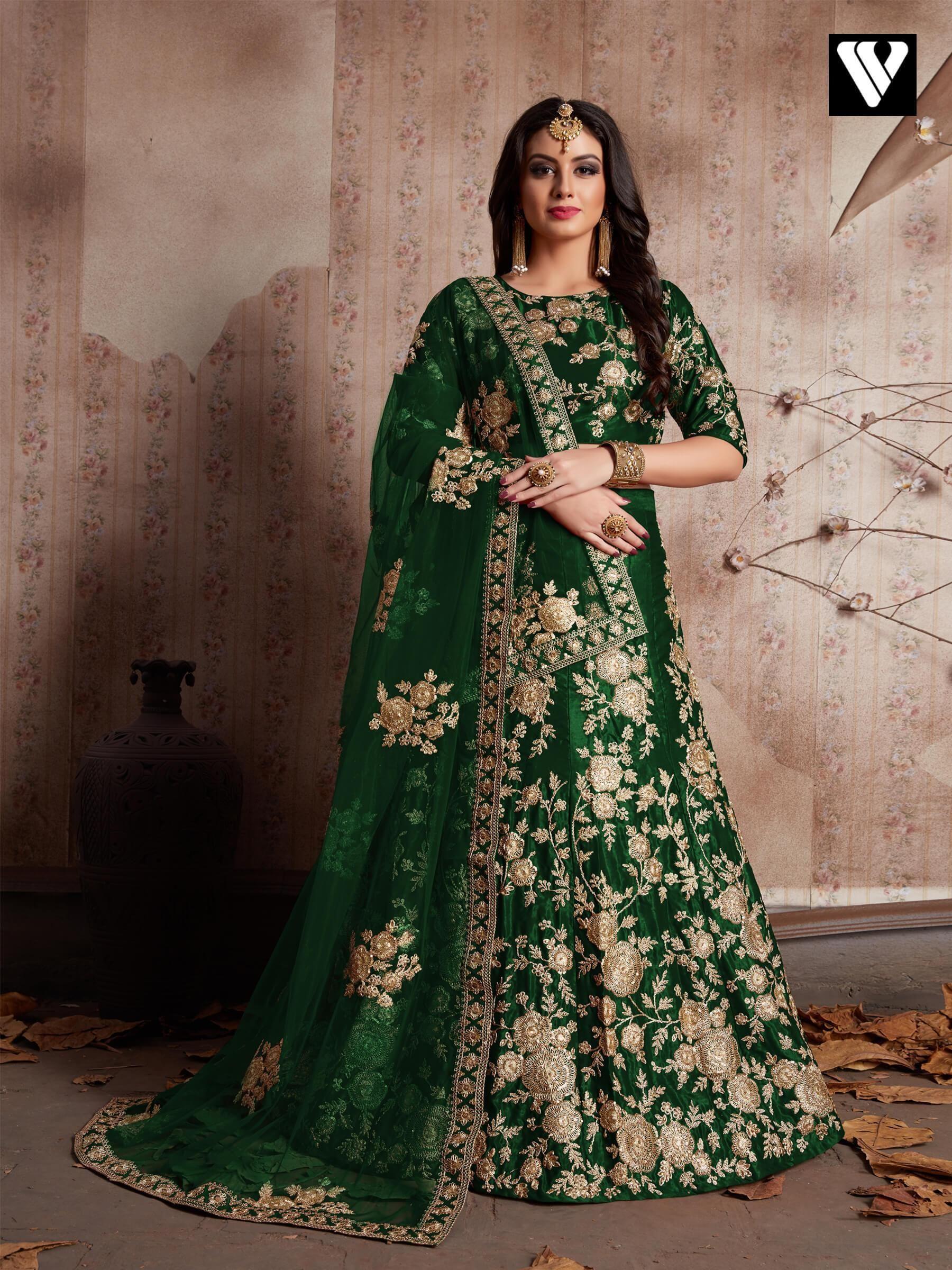 688551f3c2 Buy Dark Green Velvet Heavy Embroidered Traditional Lehenga Choli Online –  Vesture Vogue