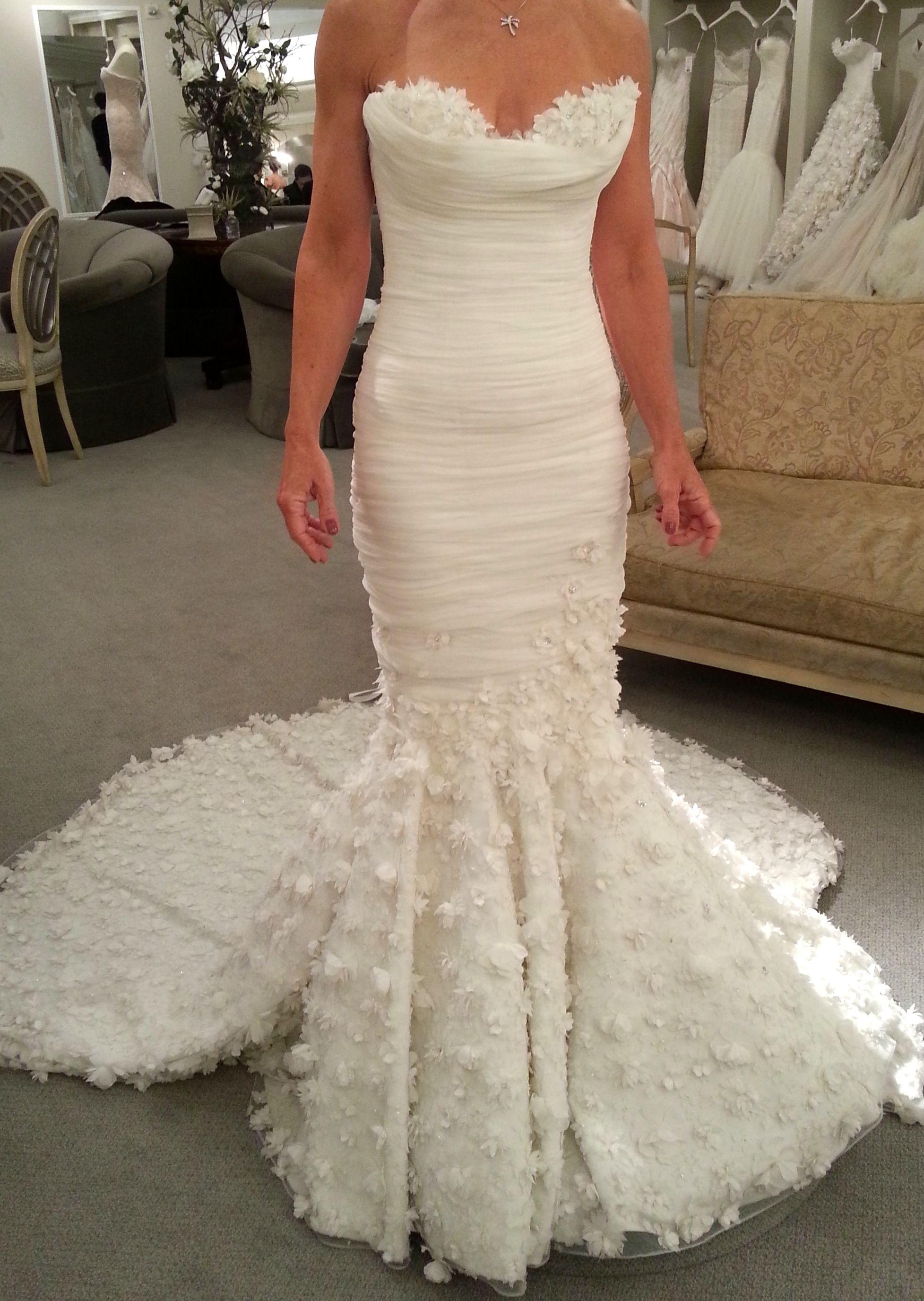 Mark Zunino – Sweetheart Mermaid Gown in Chiffon Size 4 Wedding...