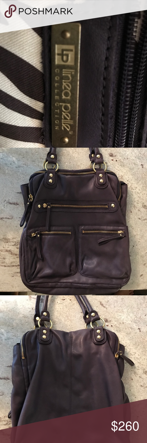 I Am Trying To Clean Out My Closet And Obviously Have Purse Problem This Is A Purple Leather Linea Pelle Bag In Excellent Condition Please Review Photos