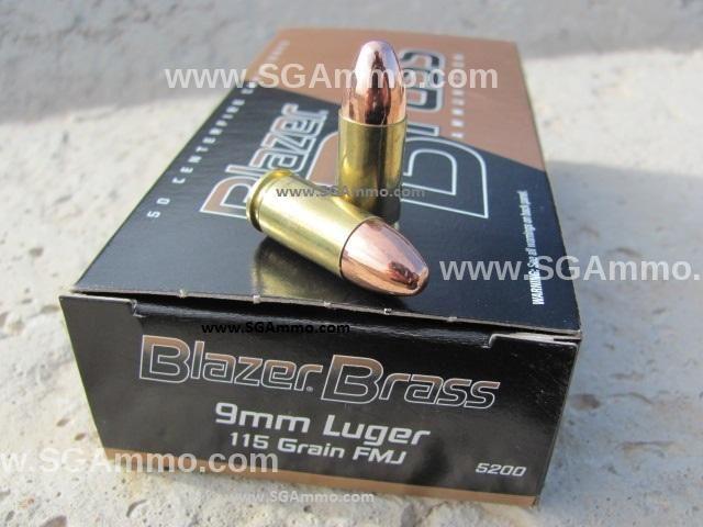 1000 round case - 9mm Luger CCI Blazer Brass 115 grain FMJ