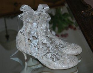 Lace Wedding Boots Vintage Victorian