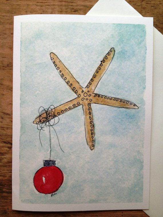 Starfish Christmas Cards Beach Set Of 6 Fun Holiday Watercolor