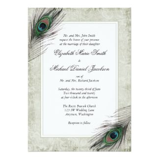 Vintage Peacock Feathers Wedding Invitations 5 X 7 Invitation Card