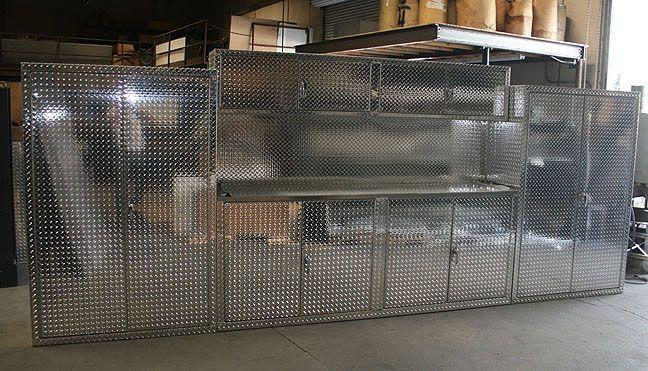 Three Piece Diamond Plate Garage Cabinets Car Guy