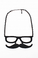 GLASSES AND MUSTACHE NECKLACE FROM LOVE MELROSE- BLACK
