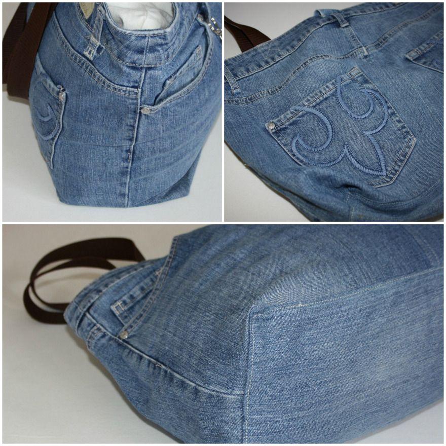 Proyecto de reciclaje: bolsa de compras hecha de jeans viejos