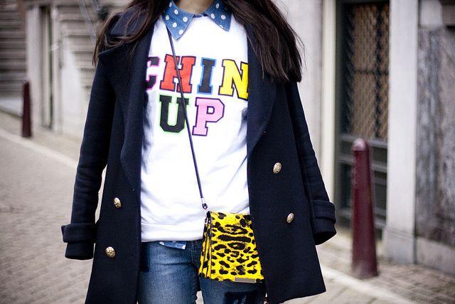 colorful details - chin up statement sweater, leopard bag, denim polkadot shirt - more on www.adashoffash.com