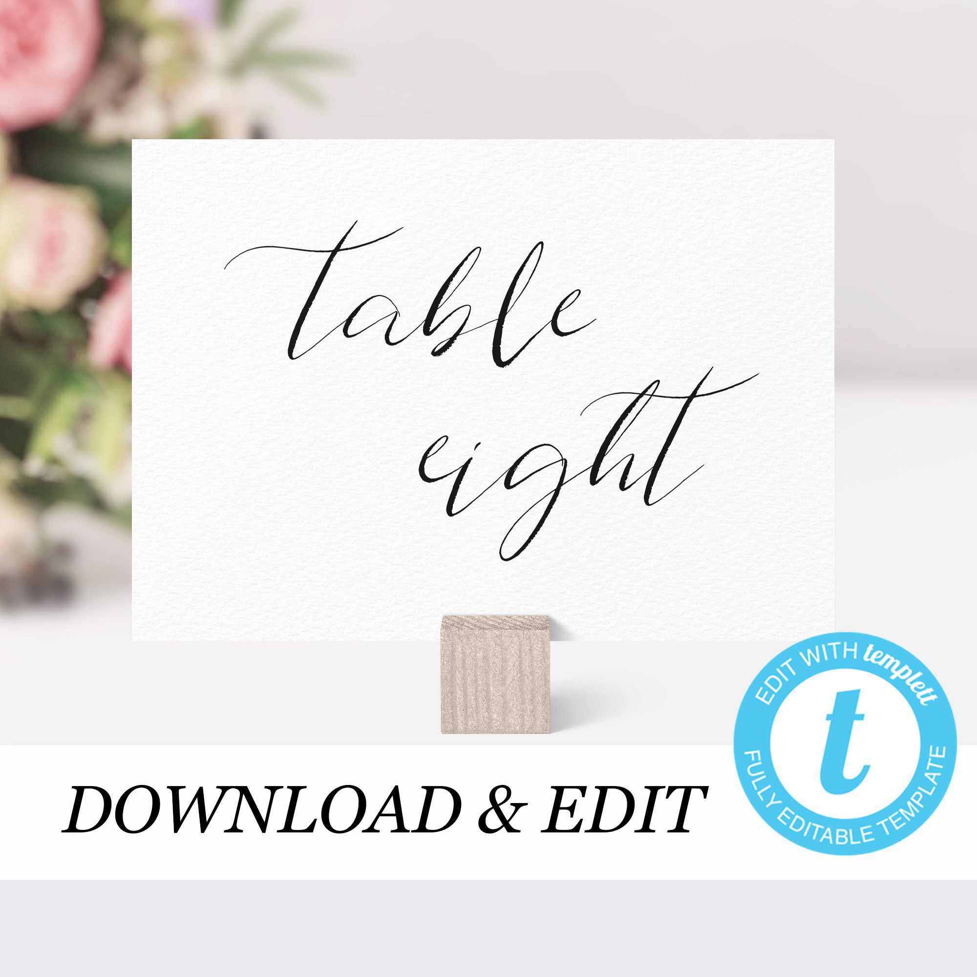 calligraphy table numbers template templett wedding table number