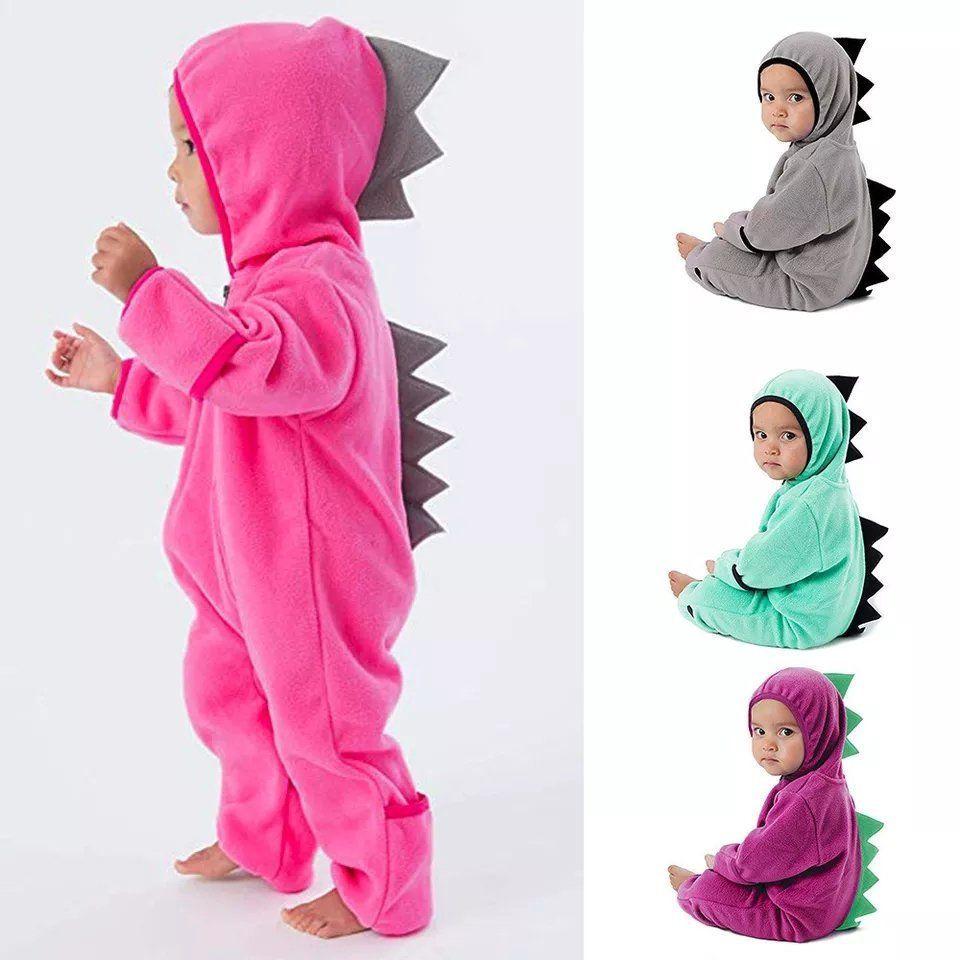 Säugling Baby Kapuze Strampler Jungen Mädchen Dinosaurier Nachtwäsche Onesies