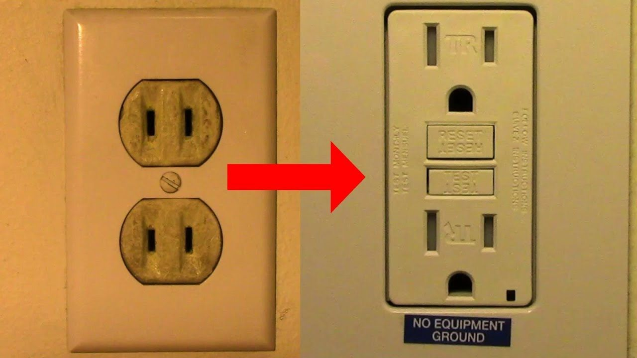 Replace Your Old Two Prong Receptacle With A Gfci Receptacle Per 2014 Nec Electrical Outlets Gfci Home Electrical Wiring
