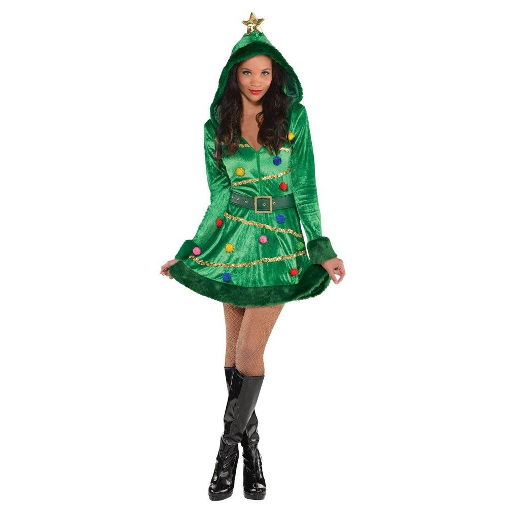 Halloween Christmas Tree Dress Costume M 6 8 Amscan Women S Size Medium Multicolored Christmas Tree Dress Tree Dress Christmas Tree Costume