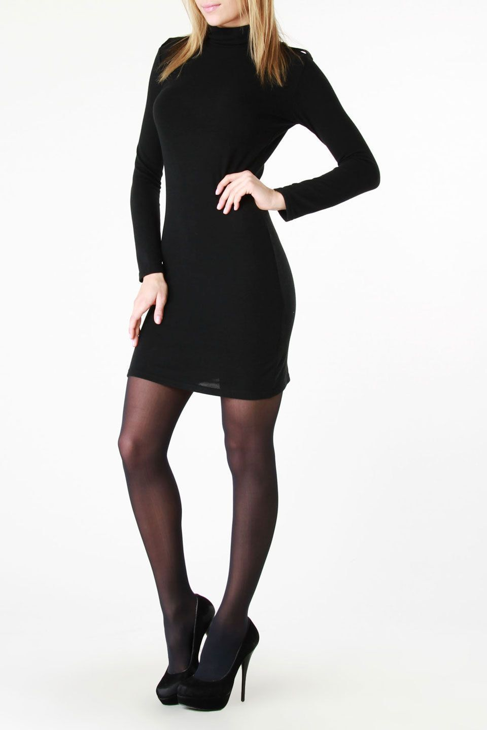 Chantal paris long sleeve turtleneck dress in black clothes and