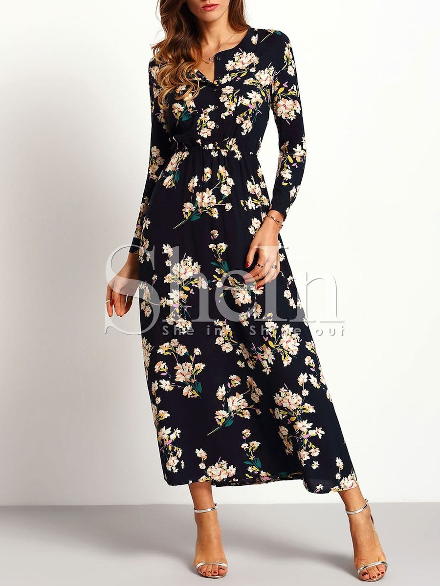 Long sleeve floral maxi dress fashion pinterest floral maxi