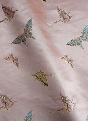 "45"" Chinese Brocade Fabric, Butterfly Pink - by the yard"