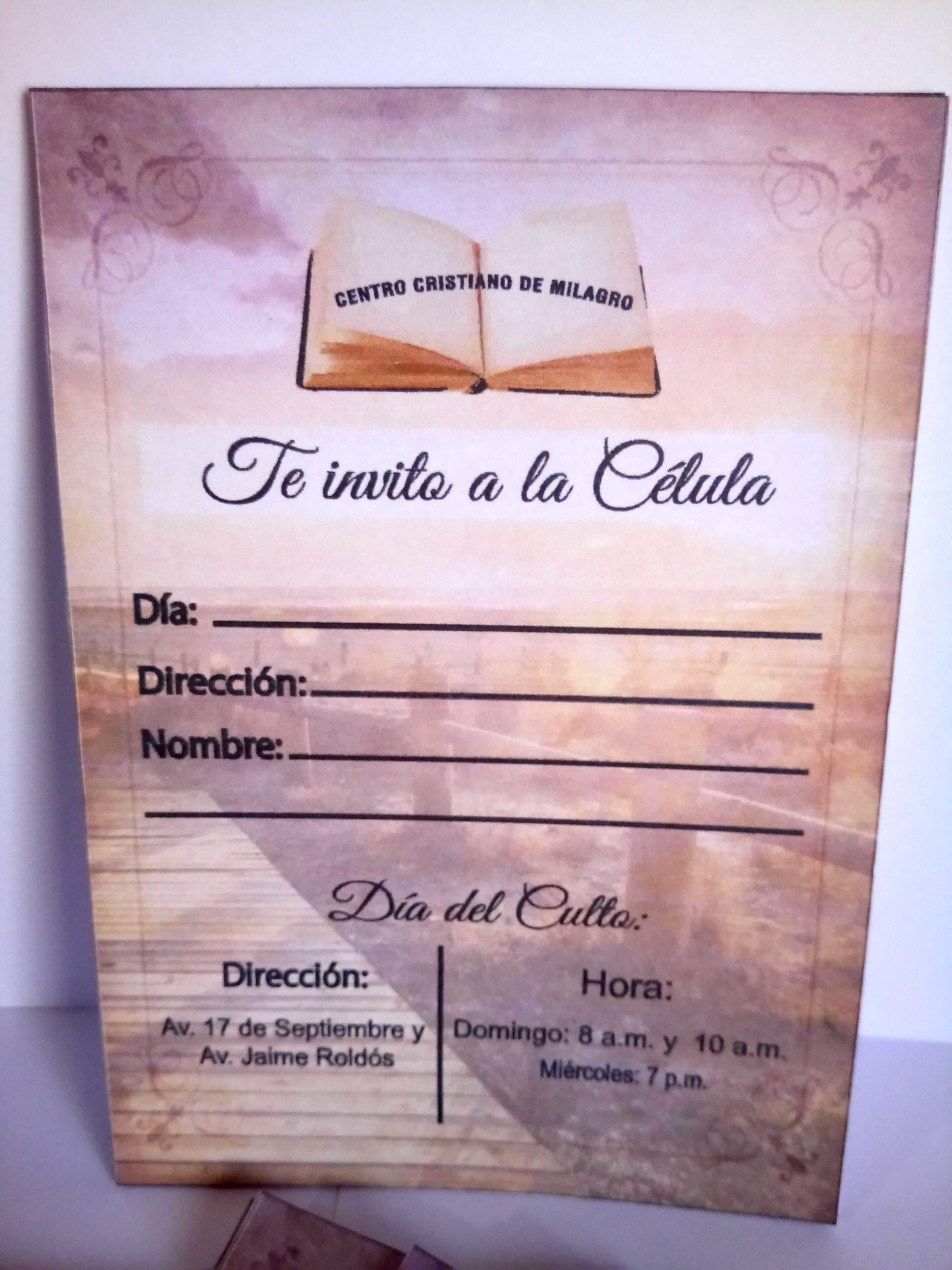 Tarjeta De Invitación A Célula Cristiana Tarjetas De