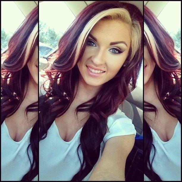 Dark Red Hair With Blonde Bangs Blonde Bangs Burgundy Brown Hair Styles Long Hair Styles Blonde Streaks
