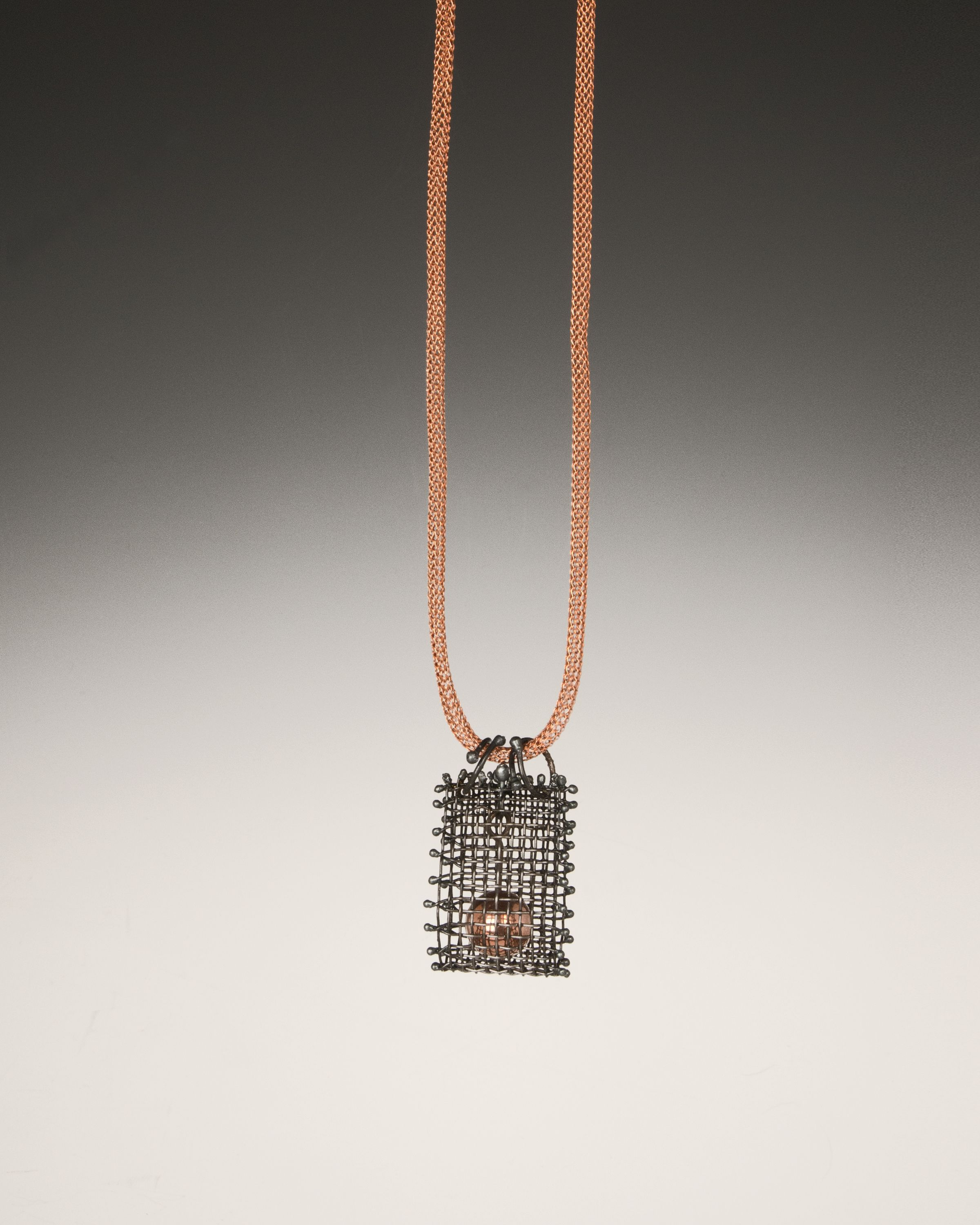Anne Lindsay Jewelry Steel mesh necklace with copper bead that moves ...