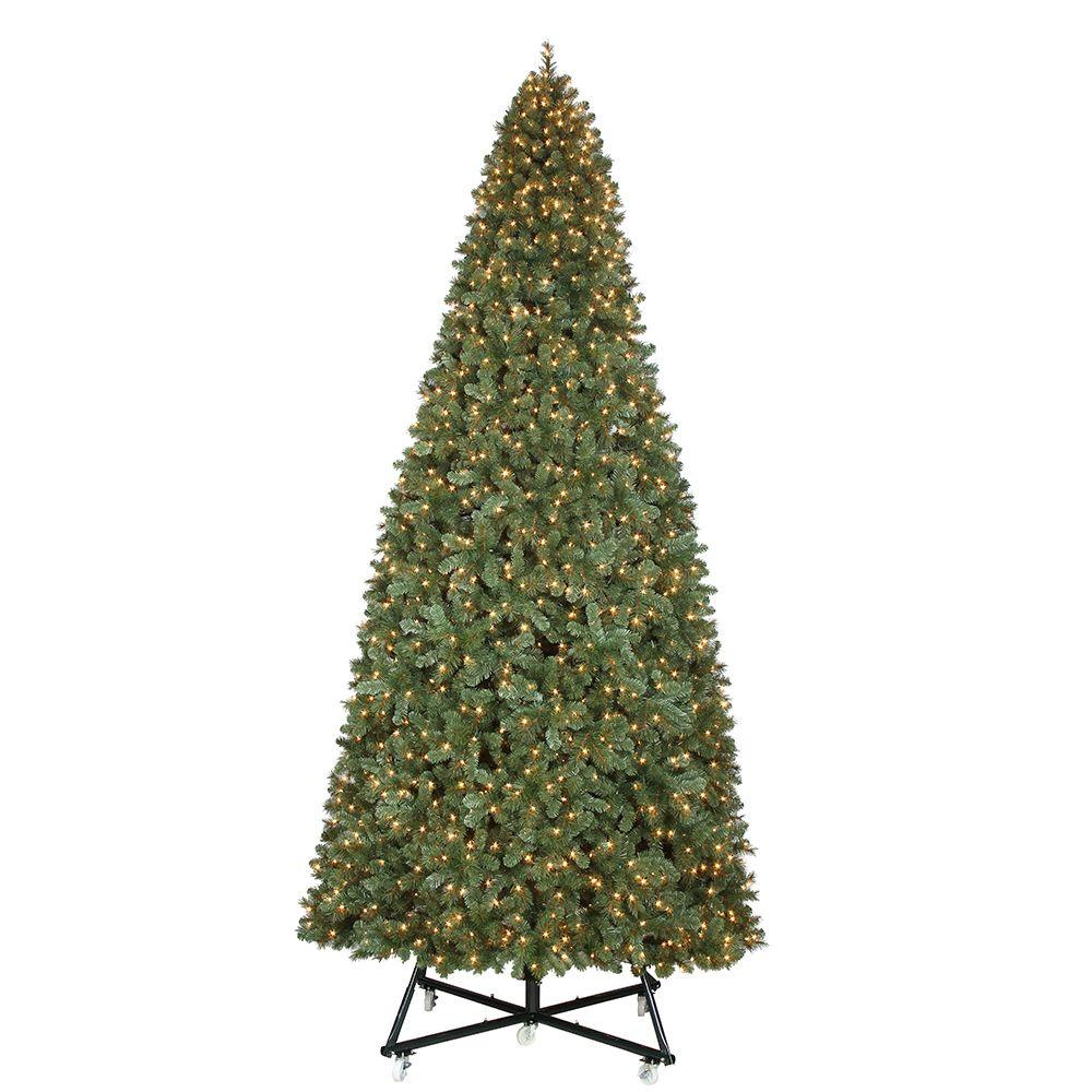 Unbranded 15 Ft Pre Lit Led Wesley Pine Artificial Christmas Tree X 6558 Tips With 2400 Warm White Lights Tgf0m3p07l01 The Home Depot Slim Artificial Christmas Trees Artificial Christmas Tree Skinny Christmas Tree