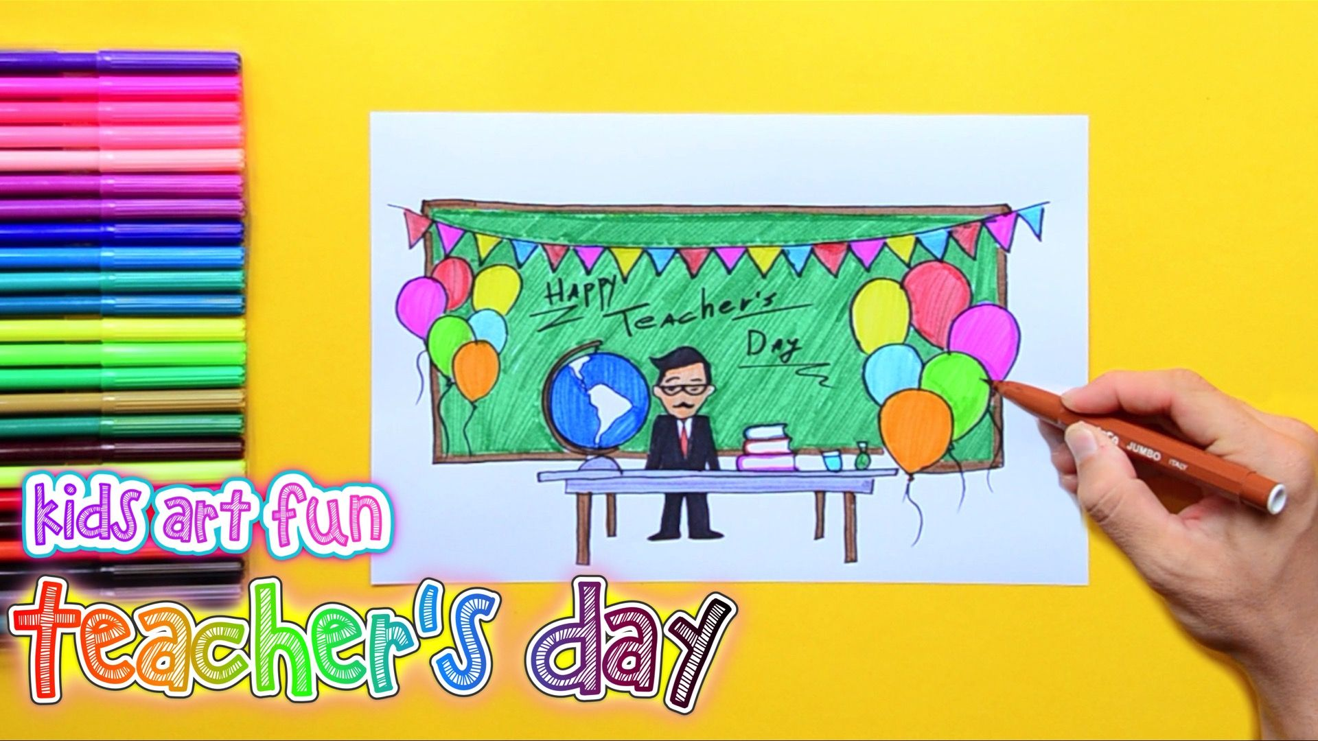 How To Draw And Color Teacher S Day Card Teachers Day Card Teachers Day Drawing Teachers Day