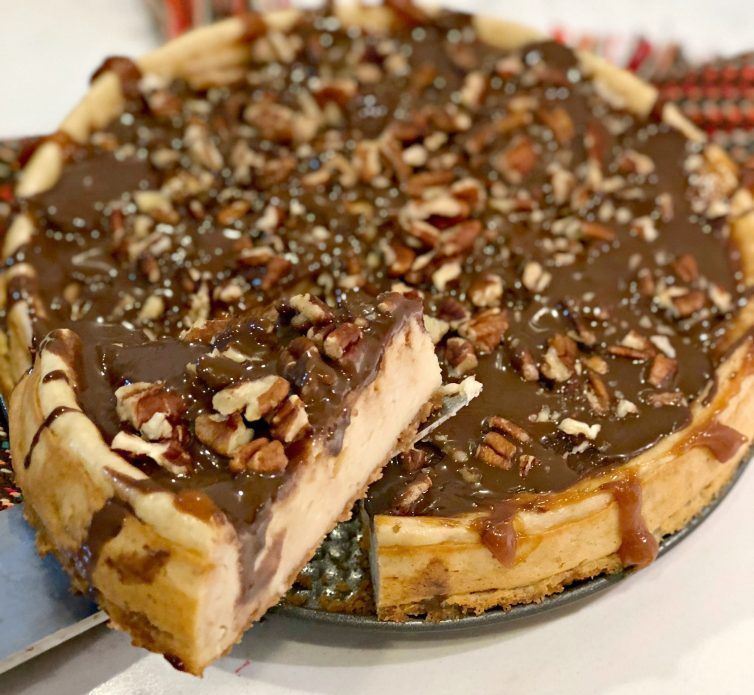 This Easy Turtle Cheesecake Recipe is a perfect option for the holidays, and you can make it so easily with the new Cheesecake Factory at Home™Cheesecake Mixes. #turtlecheesecakerecipes This Easy Turtle Cheesecake Recipe is a perfect option for the holidays, and you can make it so easily with the new Cheesecake Factory at Home™Cheesecake Mixes. #cheesecakefactoryrecipes