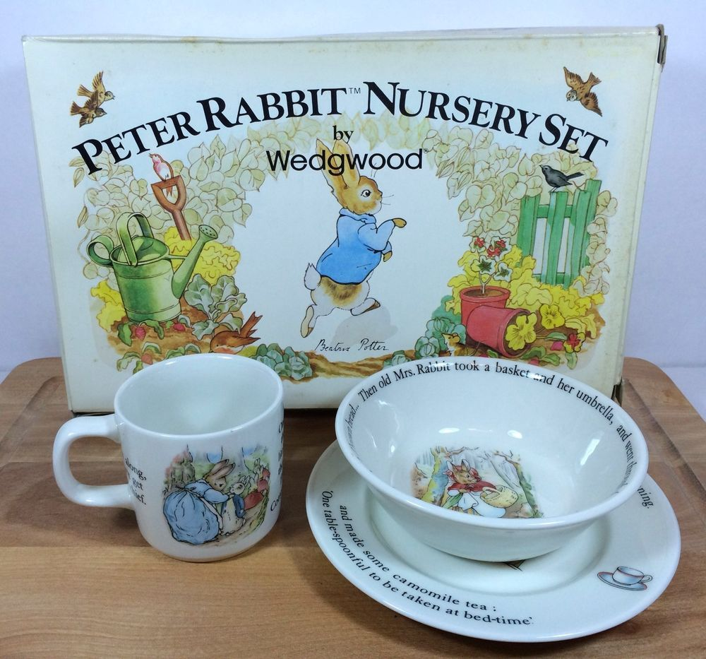 Peter Rabbit Nursery Set Wedgwood 3 Piece China Cup Bowl Plate Vintage Mib