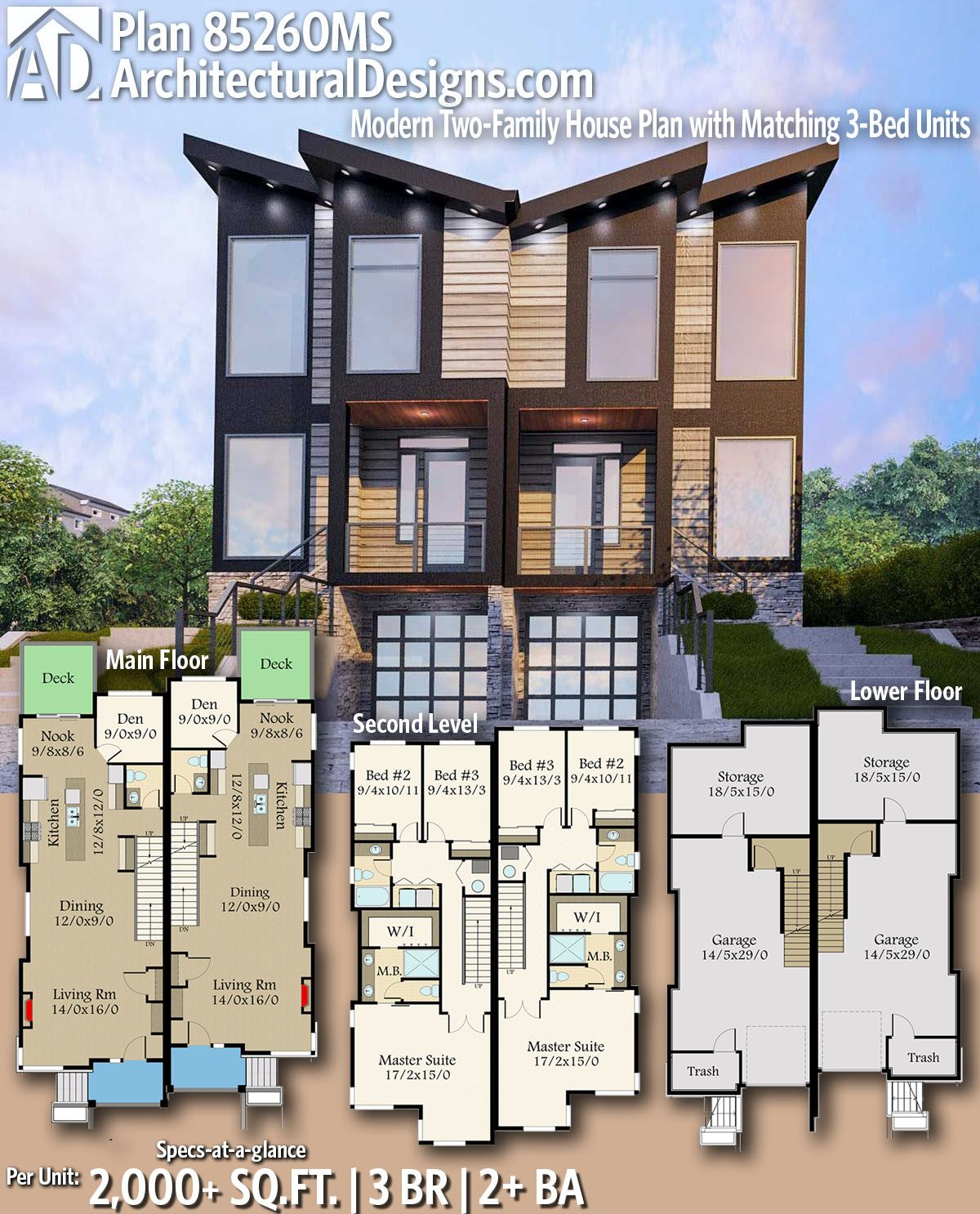 Plan 85260ms Modern Two Family House Plan With Matching 3 Bed Units Town House Floor Plan Family House Plans House Plans