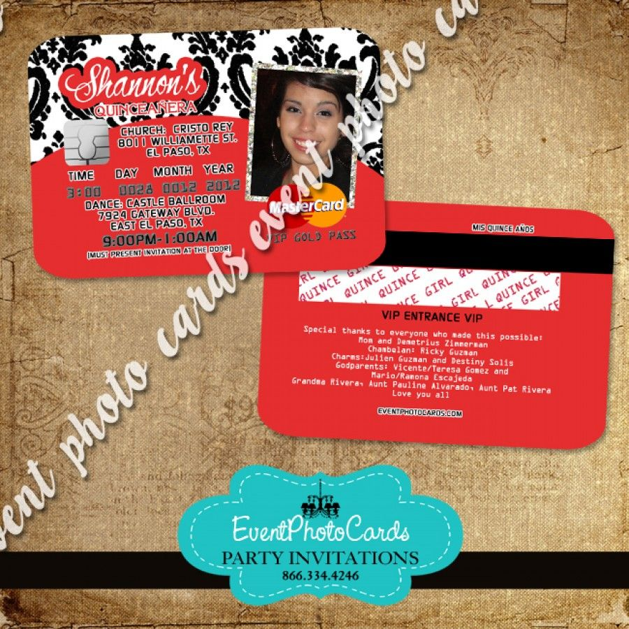 Red & Damask Party Card Invitations Sweet 15th Announcements ...