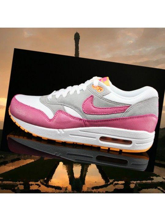 best service df835 705da Nike Air Max 1 Essential Femme Blanc Argent Gris Atomic Mango Rose  Chaussures 599820-107