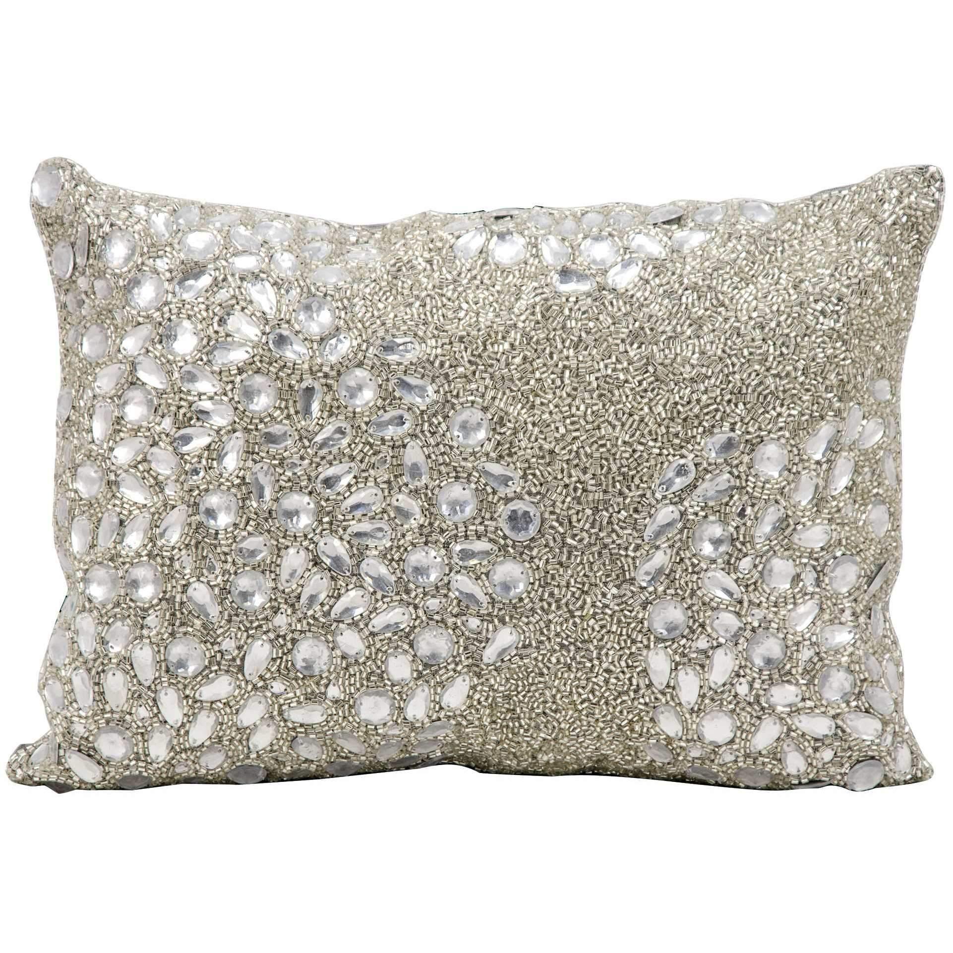Mina Victory Luminecence Fully Beaded Silver Throw Pillow | Throw ...