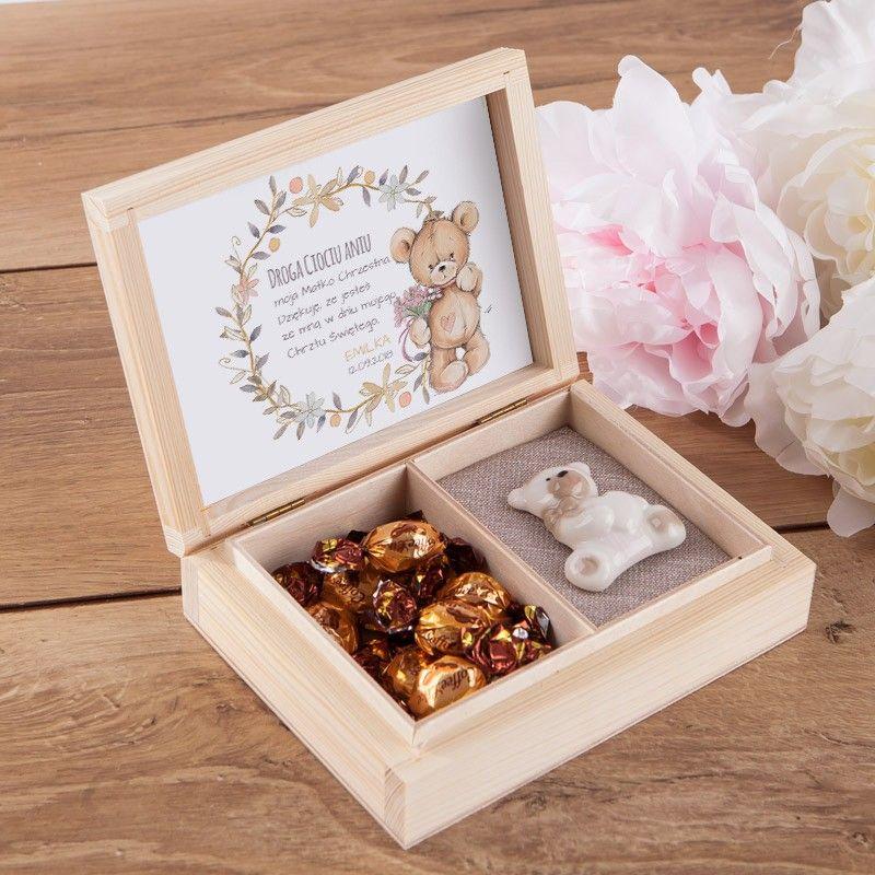Podziekowanie Dla Chrzestnych W Pudelku Misiu Cukierki Leonkameleon Pl Decorative Boxes Decor Home Decor