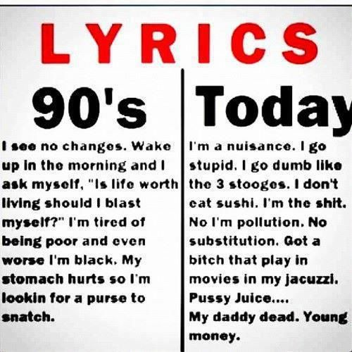90s Lyrics vs. Today http://sulia.com/channel/rap-hip-hop/f/cc201ed9-4daf-4224-9593-687706763be4/?