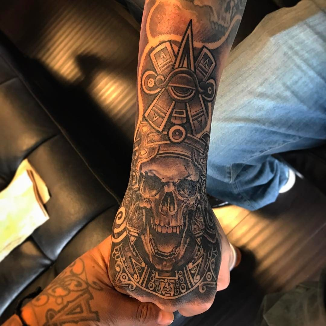 Aztec Tattoo By Gus Lopez Aztec Tattoo Aztec Tattoos Sleeve
