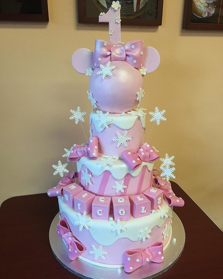 Pink & White Winter Wonderland Snowflake Minnie Cake