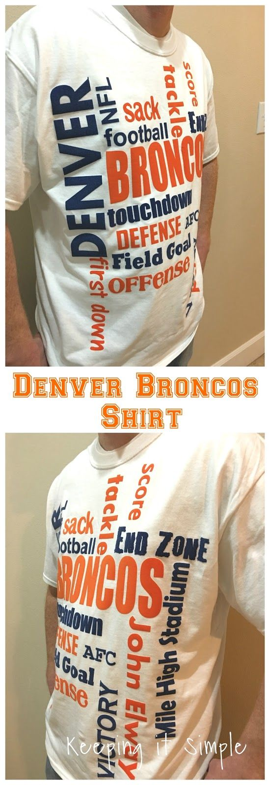 Keeping it Simple: DIY Denver Broncos Shirt- How to Cut Flocked Heat Transfer on a Silhouette