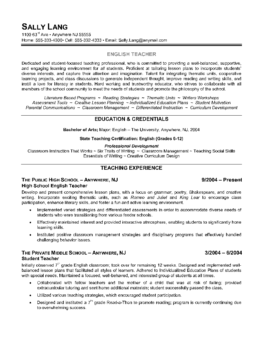 english teacher resume example shows the educators ability to effectively motivate students to develop strong critical - Resume Samples For Teaching Positions