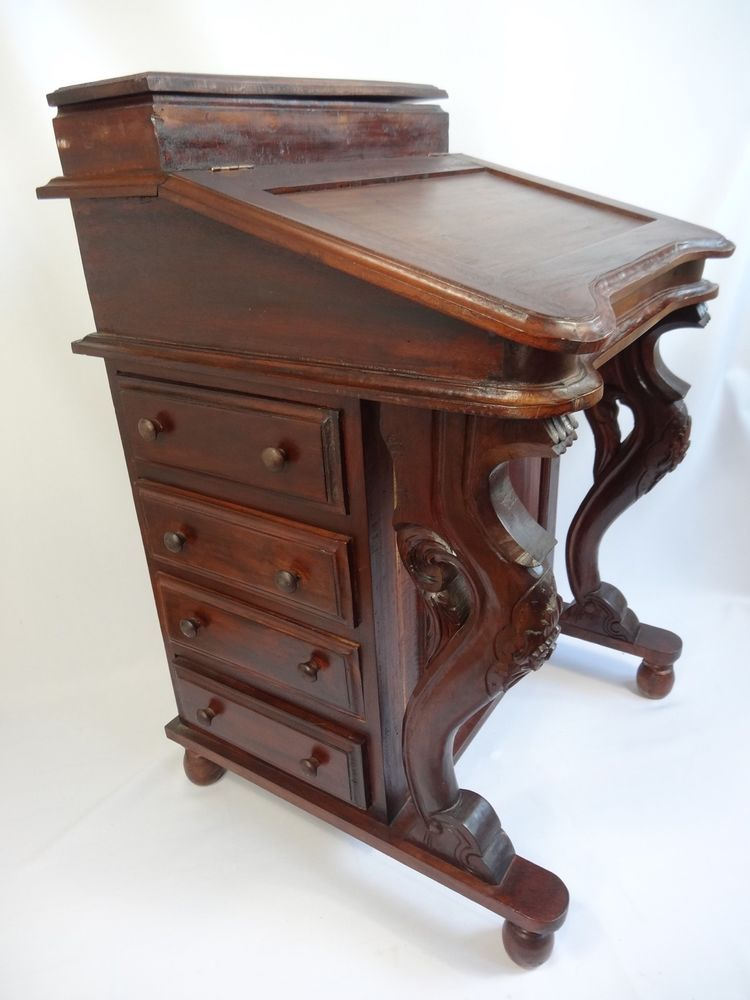 Rare Davenport Desk Wood Antique Captain S Ship Writing Desk Handmade Detail Leather Top Desk Antique Desk Victorian Desk