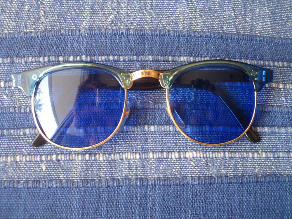 Lunettes de soleil bleues style rétro vintage 50s 60s 70s hippie goa  accessoires c4669020046c